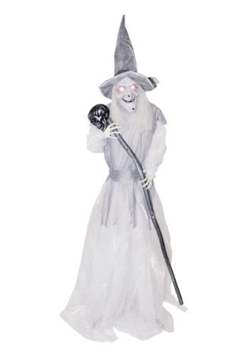 Animated Standing Ghostly Witch with Staff Halloween Pinterest - halloween decorations at walmart