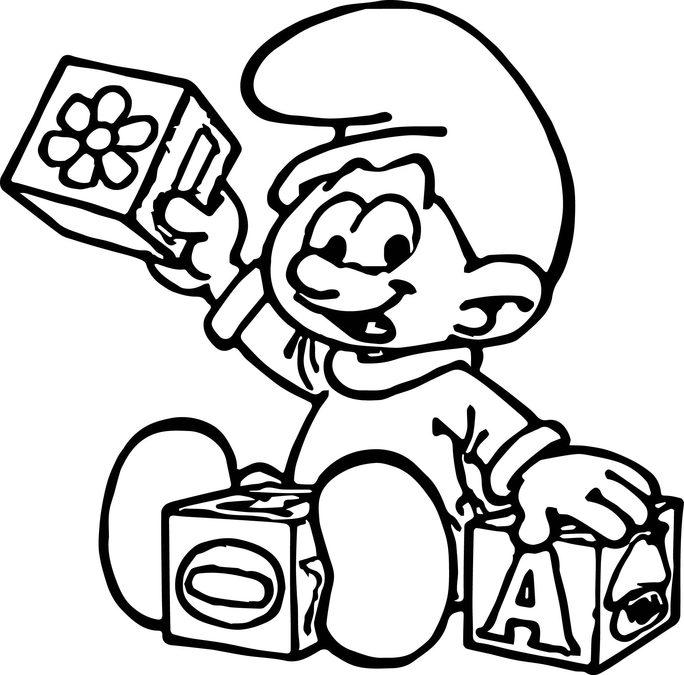Cool Baby Smurf Playing Toy Coloring Page With Images Coloring