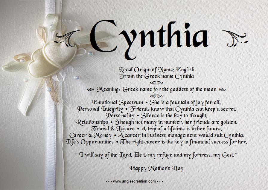 Cynthia | Cynthia, Names with meaning