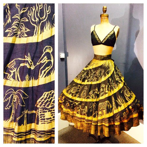 EXTREMELY RARE SIGNED Vintage 1950's Black & Glimmering Metallic Gold Mexican Tourist Wearable Art Circle Skirt Beach Scene, Donkeys S M L