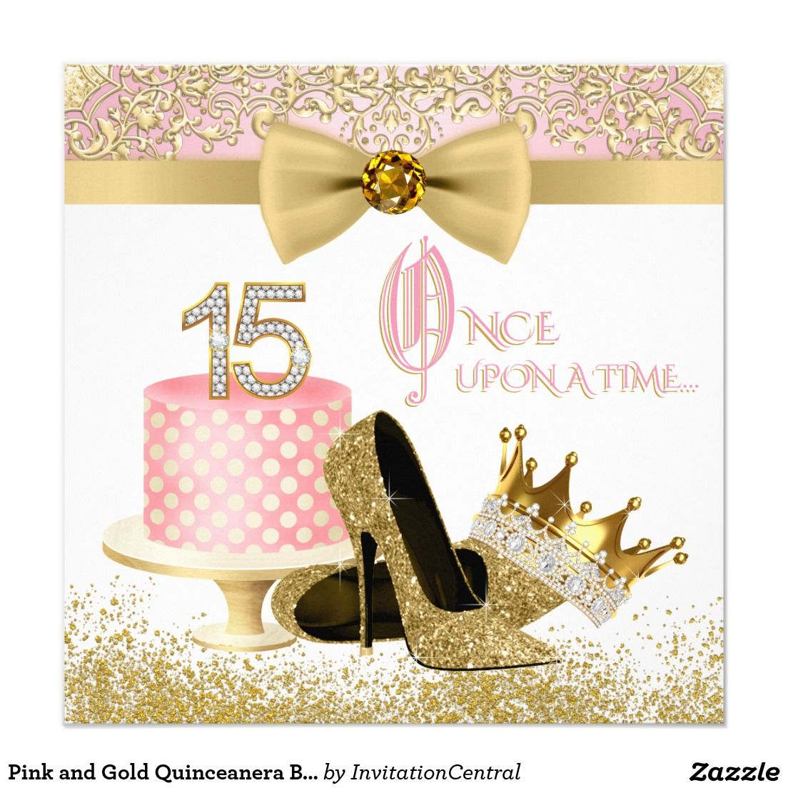 Pink and gold quinceanera birthday party card quinceaera pink and gold quinceanera birthday party card m4hsunfo