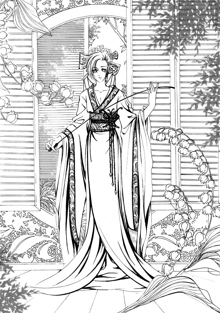 Geisha Coloring Book - 24 Printable Coloring Pages, Outlines ... | 1000x705
