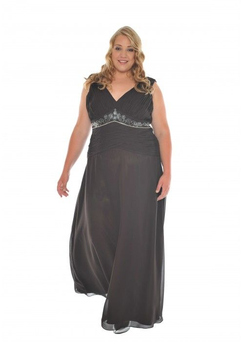 abendkleid mit paillettenverzierung xxl farbe braun abendkleider plus size kleider. Black Bedroom Furniture Sets. Home Design Ideas