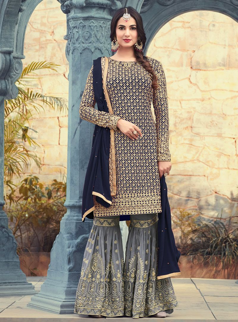 6078a1af6c Sonal Chauhan Navy Blue Georgette Sharara Style Salwar Suit 131392 ...