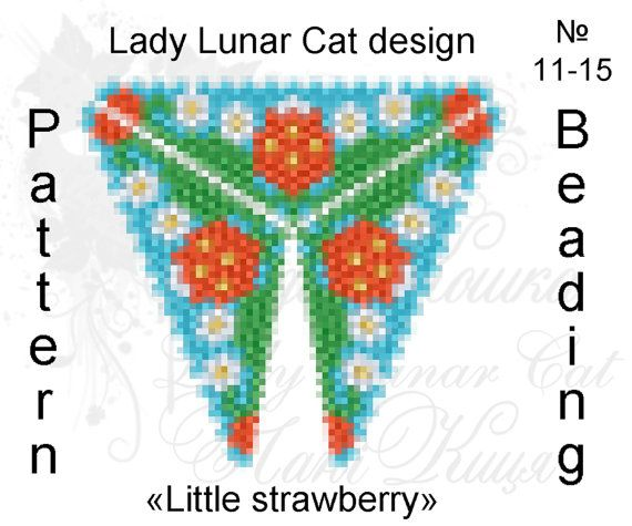 Triangle Peyote pattern Little strawberry scheme for beading