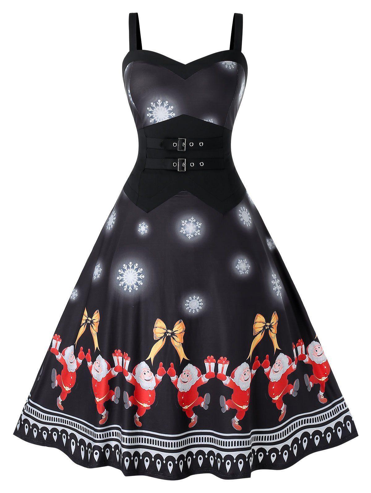 Photo of Plus Size Christmas Printed Vintage Swing Dress