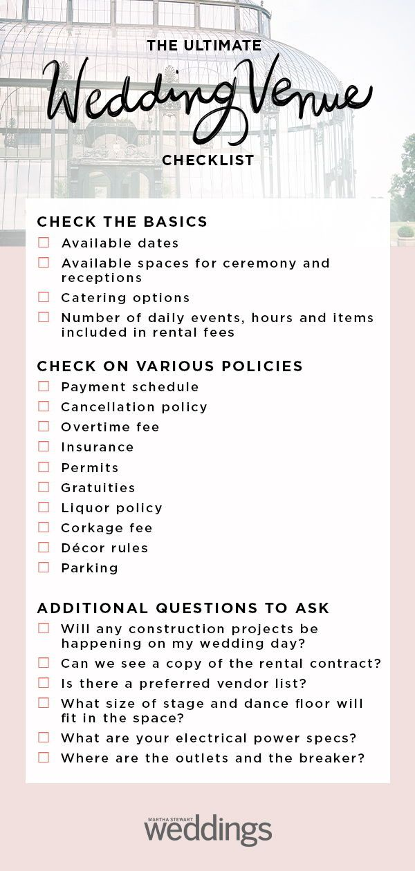 Wedding Venue Checklist