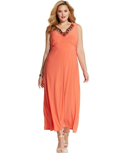 Orange Dresses - Macy\'s | Q\'s 50th | Plus size maxi dresses ...