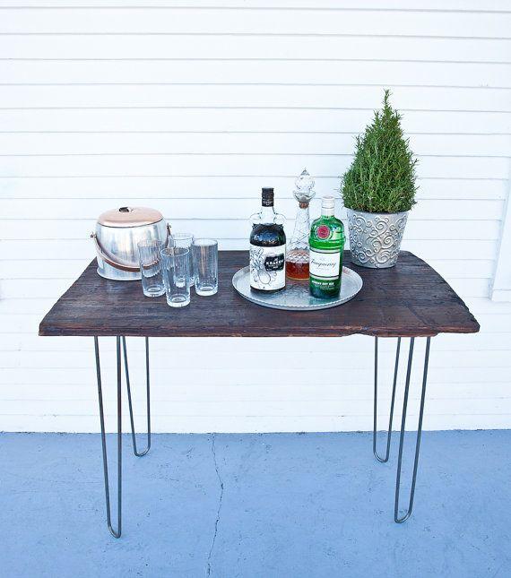 Handmade Cyprus Wood Table With Hairpin Legs