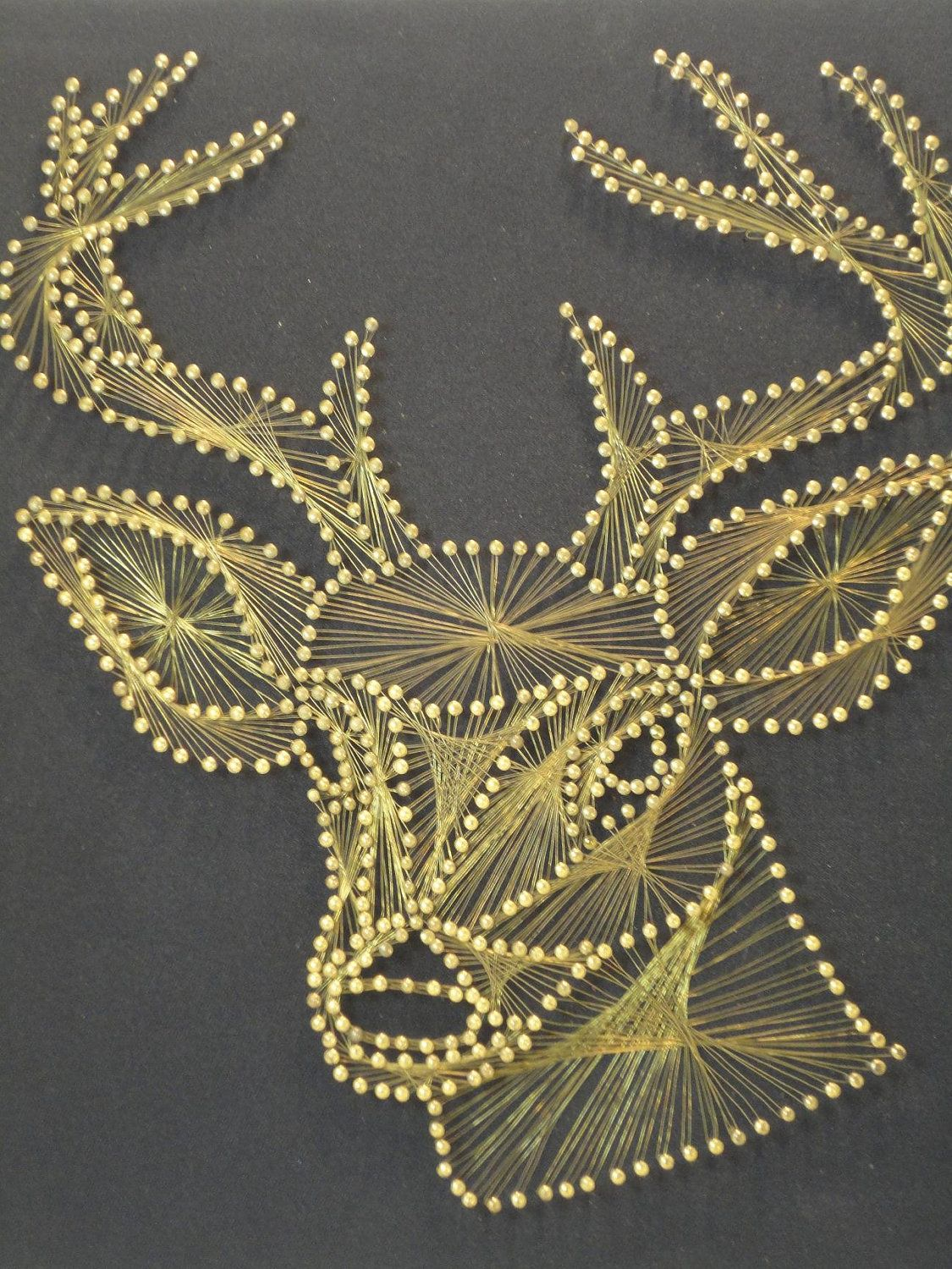 Vintage Stag String Art Wall Hanging. - I would LOVE to own this..... How cool & Vintage Stag String Art Wall Hanging | String art Art walls and Walls