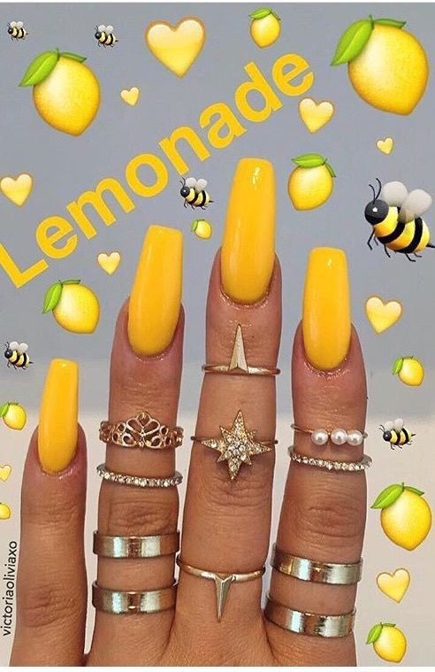 Blessed ⊱ ⊰ Xoxojamm Cute Acrylic Nails Yellow Nails Coffin Nails