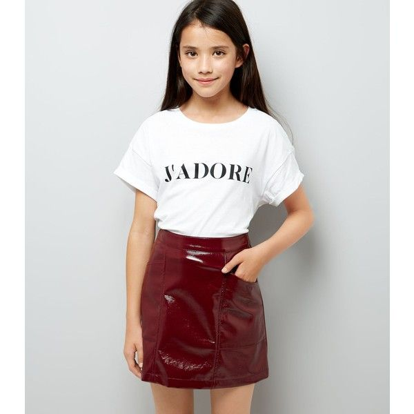 67dc0dfd Teens Dark Red Patent Leather-Look Mini Skirt ($26) ❤ liked on ...