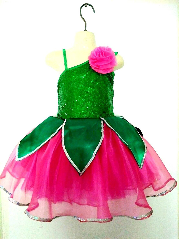 Little Girls\' Lotus Flower Tutu Design Dress Wrab Costume Rose/Green ...