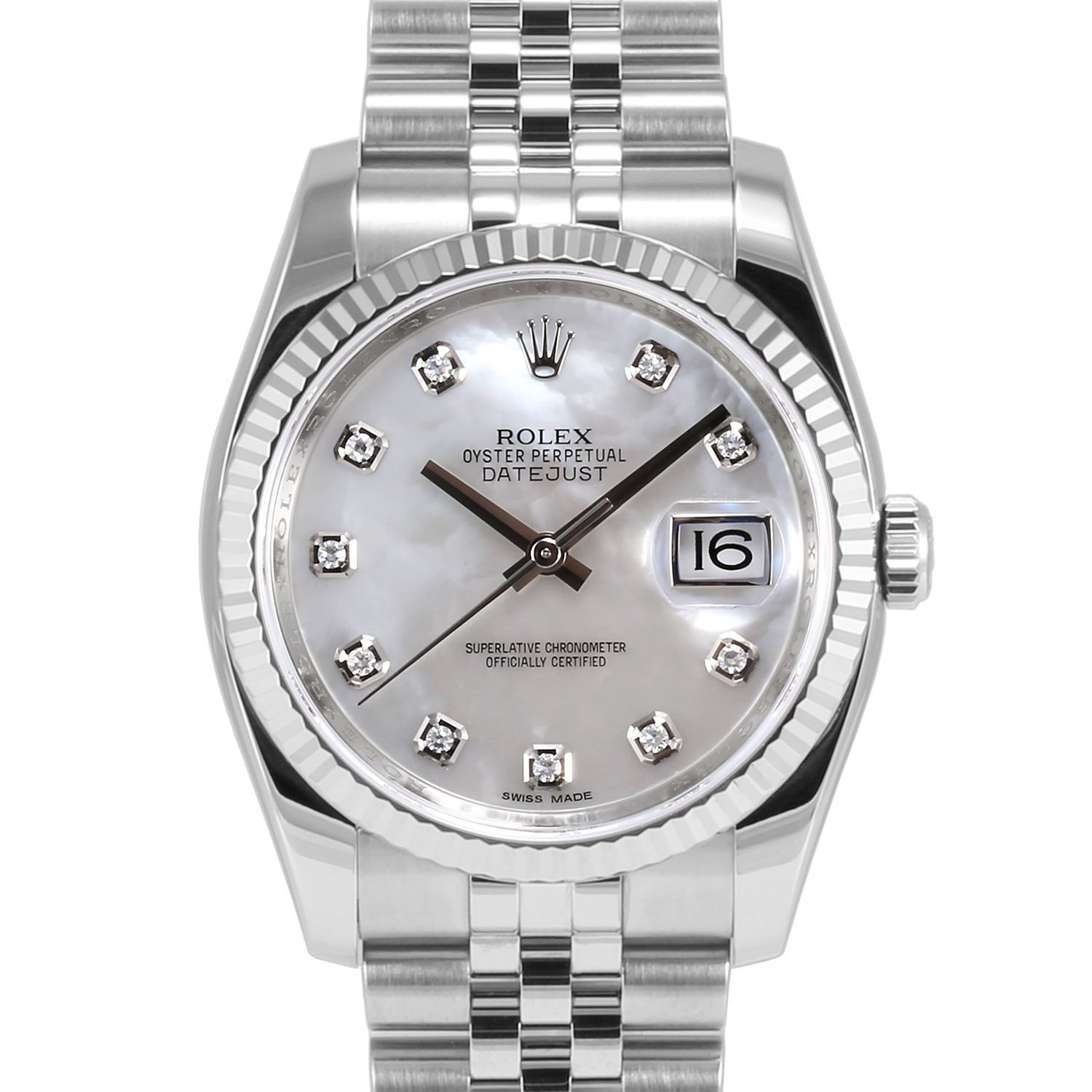 Men S Rolex Datejust Stainless Steel Mother Of Pearl