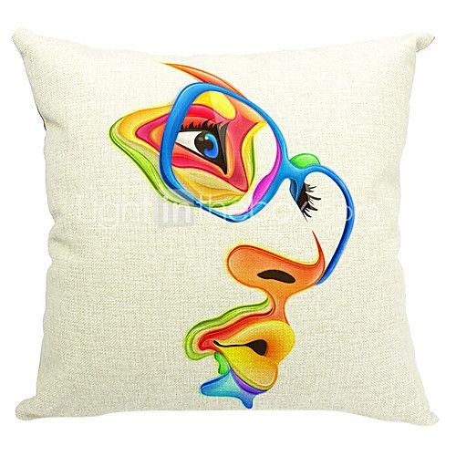 moderna de algodón arte / funda de almohada decorativa de lino - USD $ 12.74