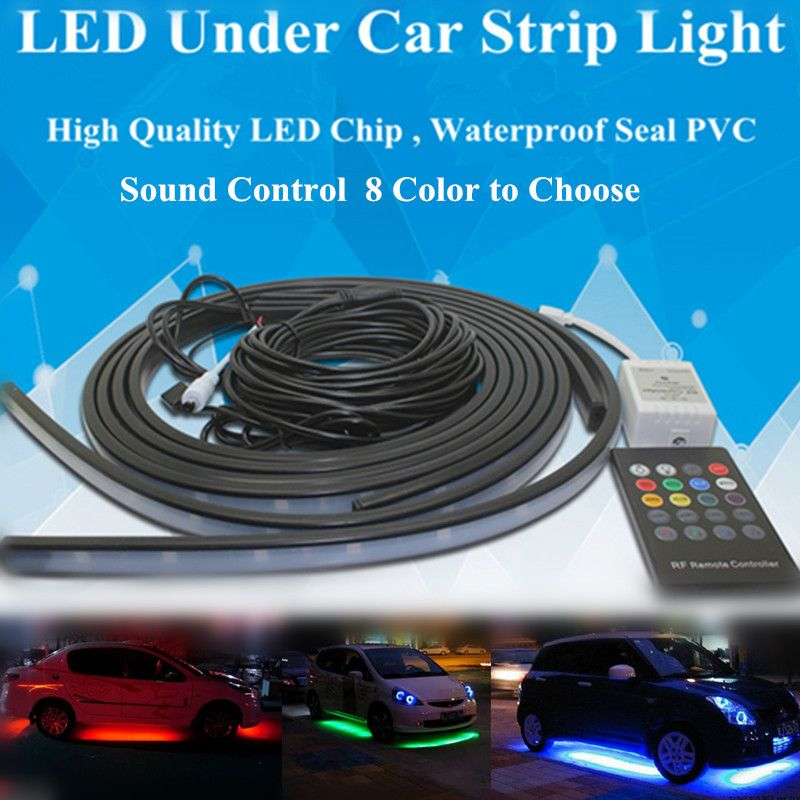 New wireless sound control 5050 led rgb flash strip under car auto new wireless sound control 5050 led rgb flash strip under car auto glow underbody system 8 mozeypictures Gallery