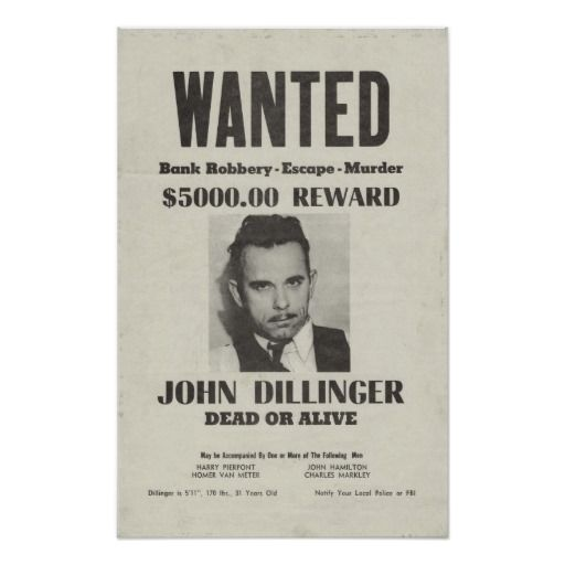 Wanted Dead or Alive John Dillinger Poster | Zazzle ca