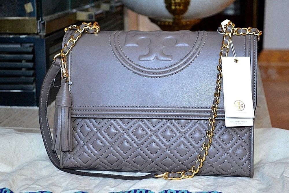 69be98dbacc NWT AUTHENTIC TORY BURCH Fleming Leather Convertible Shoulder Bag~Silver  Maple