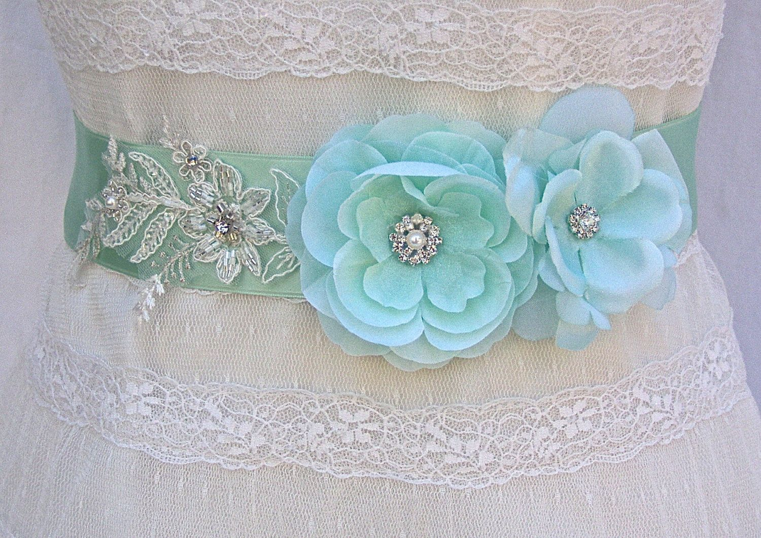 Bridal Sash, Wedding Sash in Mint Green With Lace, Pearls And ...