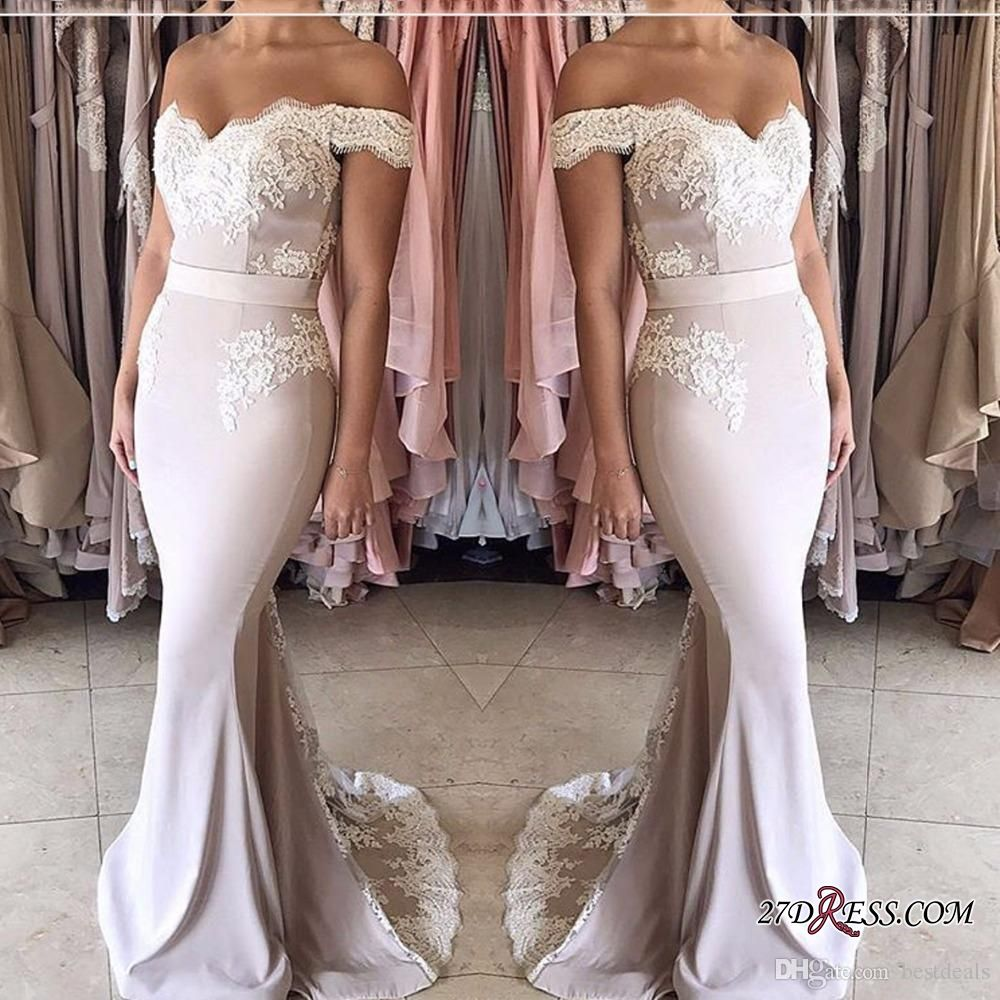 Gorgeous black lace mermaid prom dresses offtheshoulder sweep