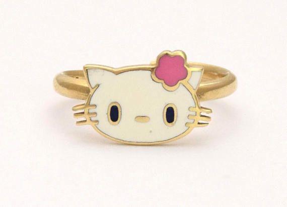 Hello Kitty 14k Cat Ring Girl Gold Ring Children Ladies Pop Solid