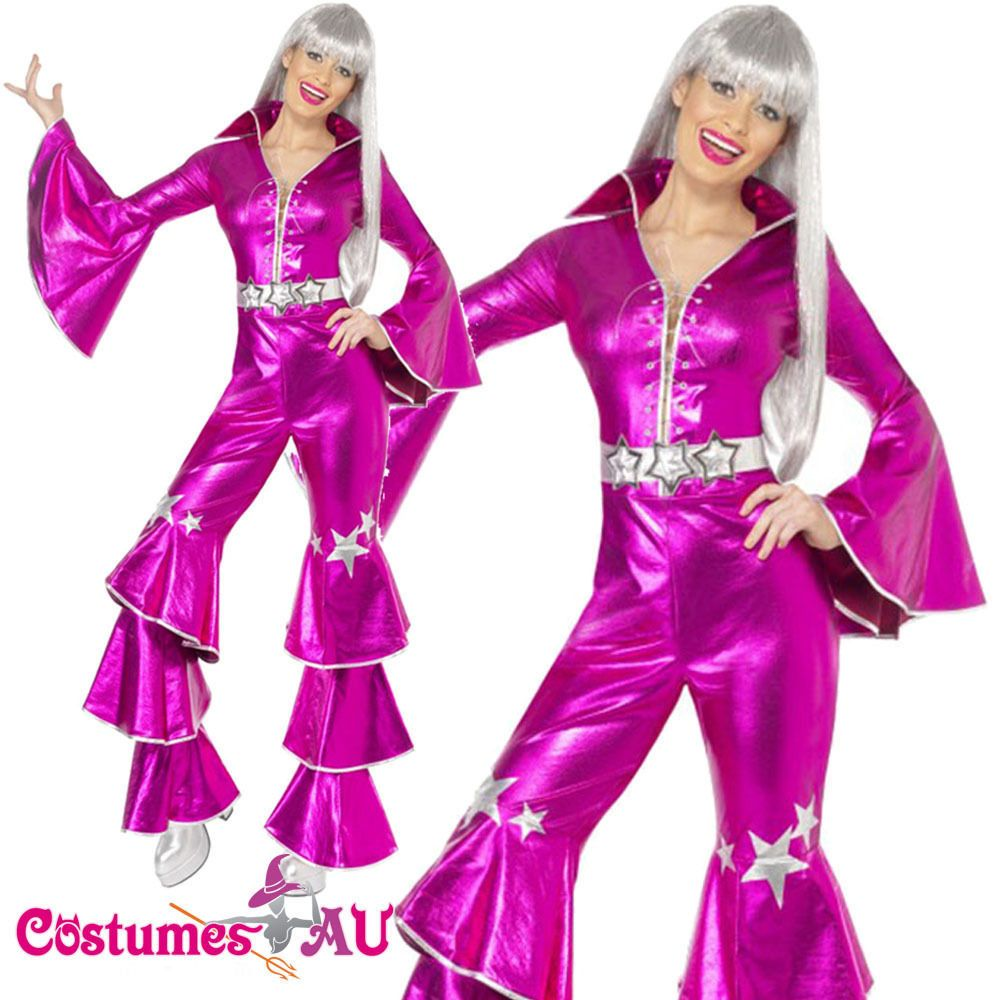 Ladies Dancing Queen 60s 70s Costume Retro Hippie Tribute Jumpsuit ...