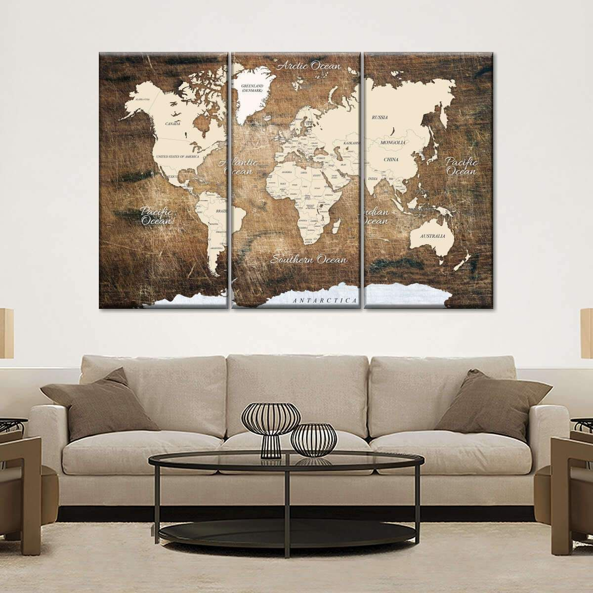 World Map On Ancient Wood Multi Panel Canvas Wall Art In 2020 World Map Wall Decor World Map Decor World Map Wall Art