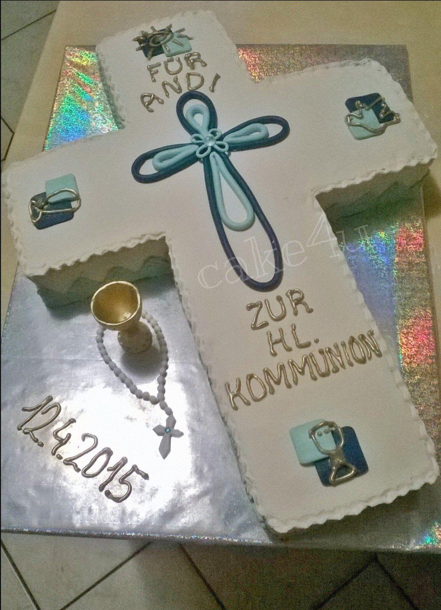 Kommunion Torte Marzipan eingedeckt und dekoriert