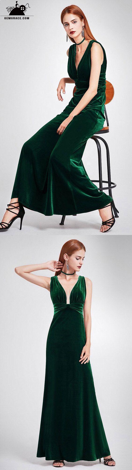 sexy dark green velvet formal dress with double v neck