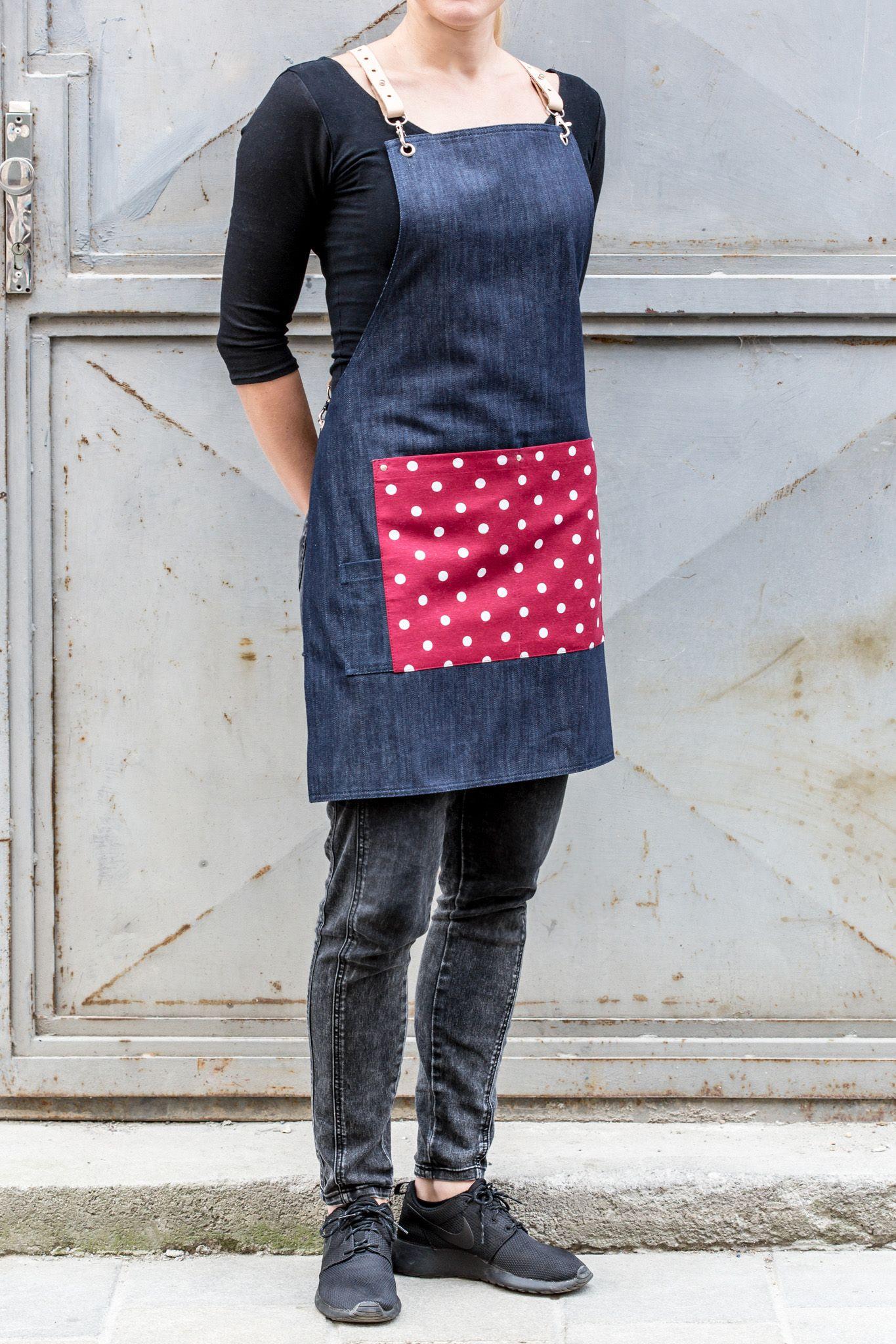 Blue apron omaha - Bartender Denim Apron W Polka Dots Detail Leather Custom Made Straps