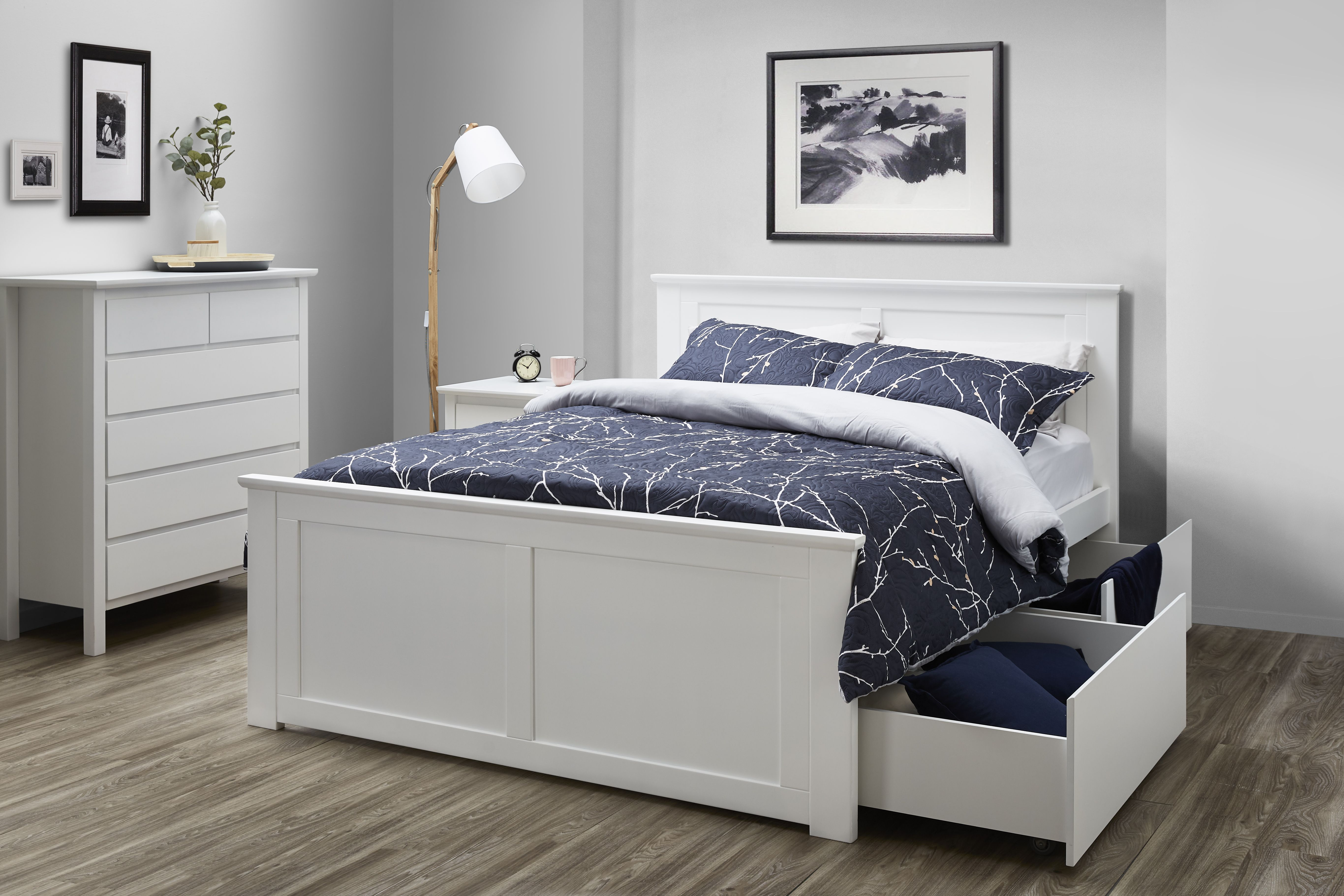 White king size bedroom suite with storage ...