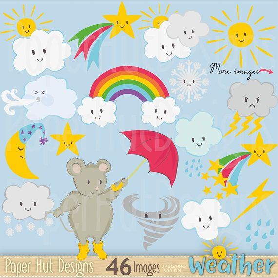 Weather clipart kawaii weather clip art set cute spring summer 46 cute kawaii weather clipart set all the weather images you need for spring voltagebd Image collections