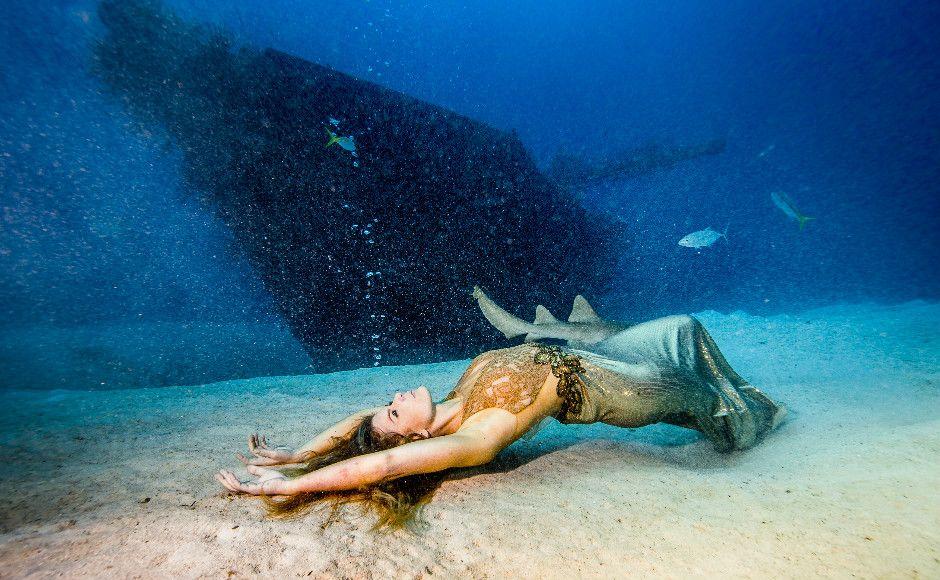 Com o objetivo de chamar a atenção do mundo sobre a extinção dos tubarões, a mergulhadora Karina Oliani convidou o fotógrafo Alexandre Socci para uma sessão de fotos subaquática nas Bahamas