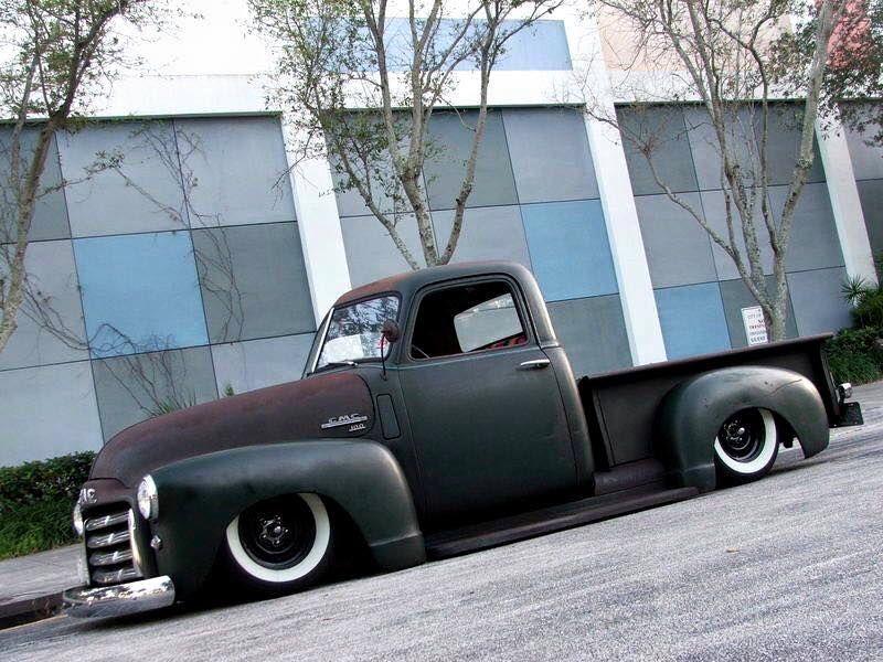 Gmc New Design Advanced Design Pickup Truck Slammed Over Wide White Walls Black Steel Wheels And Bullet Ce Vintage Pickup Trucks Chevy Trucks Chevy Pickups