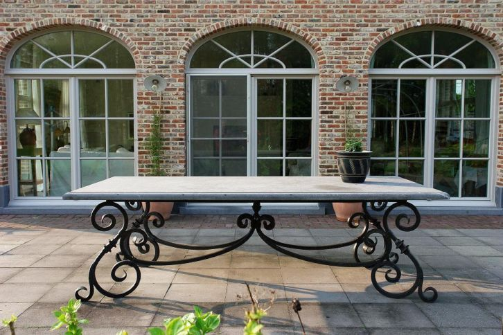 Wrought iron table with hard stone top | muebles | Mesas de ...