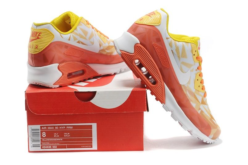 Online Sale Nike Air Max 90 HYP PRM Colourful Yellow Orange White Mens&Womens Running Shoes For Cheap - New Nike Air Max 90 HYP PRM Women Shoes