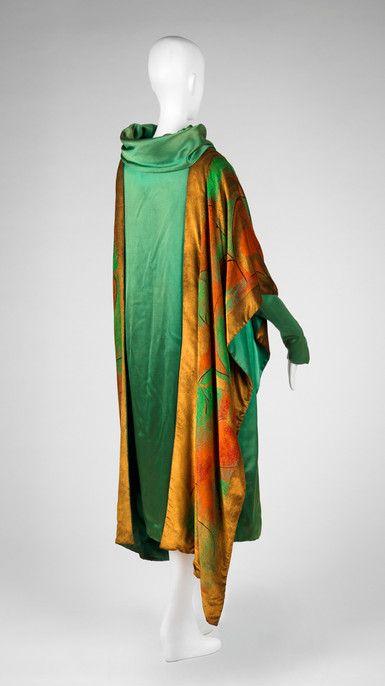 Dress with Attached Wrap Paul Poiret, designer French, 1879-1944 Paul Poiret, design house Dress with Attached Wrap, ca. 1925 Silk satin weave with painted velvet decoration 59.031.3