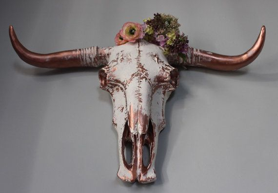 Bull Skull Faux Taxidermy Vintage White Copper Cow Head
