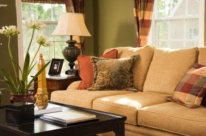 Tradtional Living Room With Olive Green Walls, Wheat Colored Sofa, Orange  Green And Cream Part 45