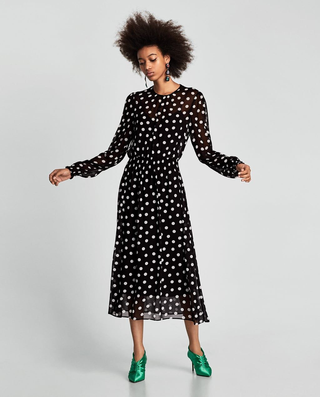 48e7b372a5a01 POLKA DOT DRESS-Midi-DRESSES-WOMAN | ZARA United States | dresses ...
