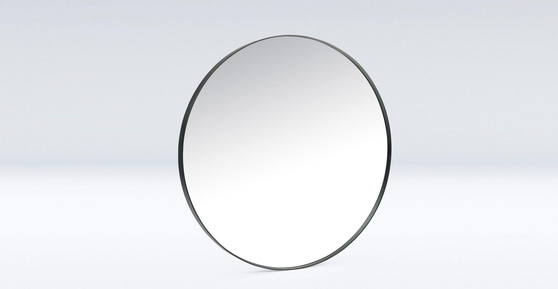 Grand miroir mural rond en métal noir diam¨tre 100cm