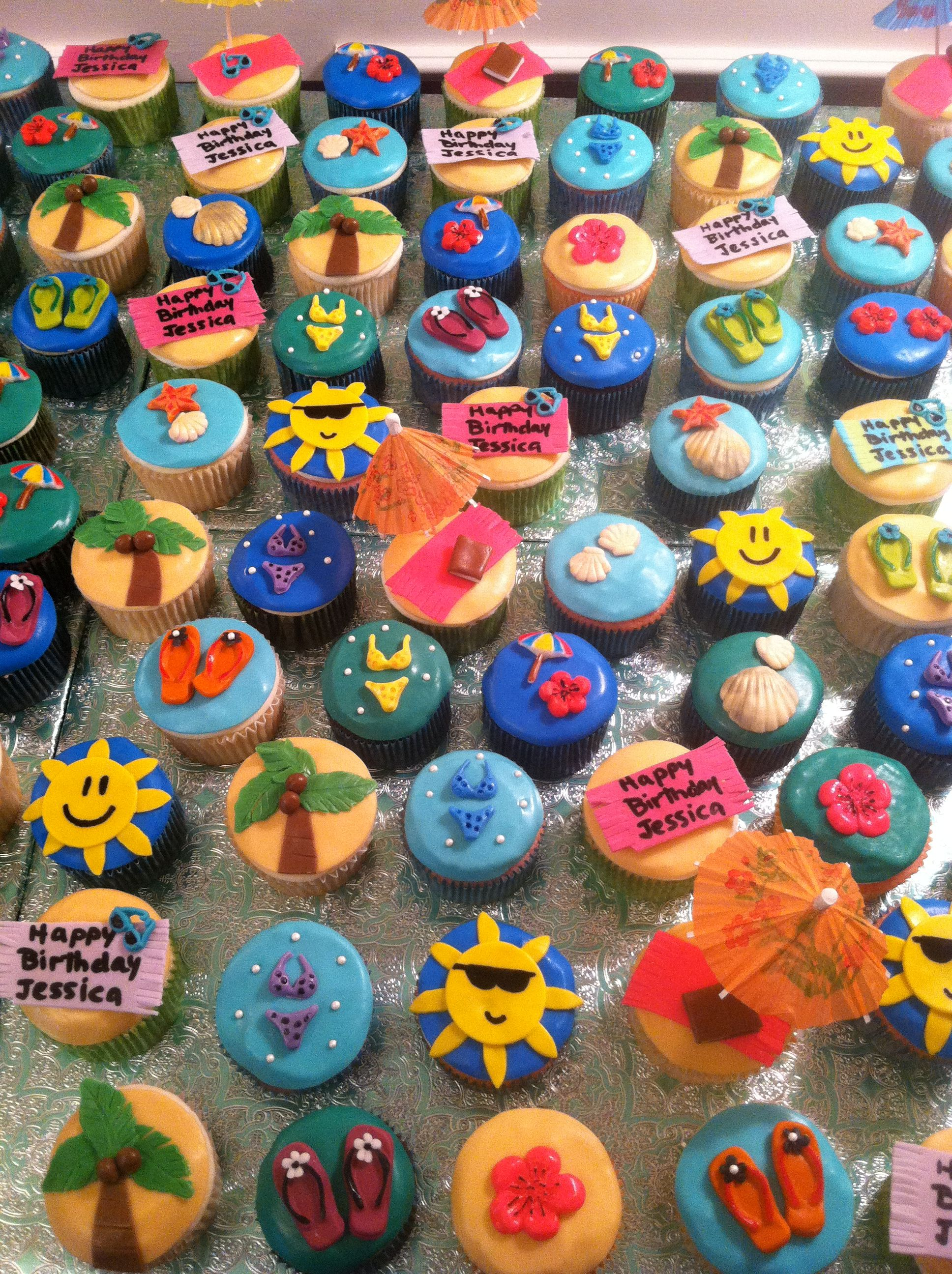 Beach Themed Cupcakes With Images Beach Theme Birthday Party