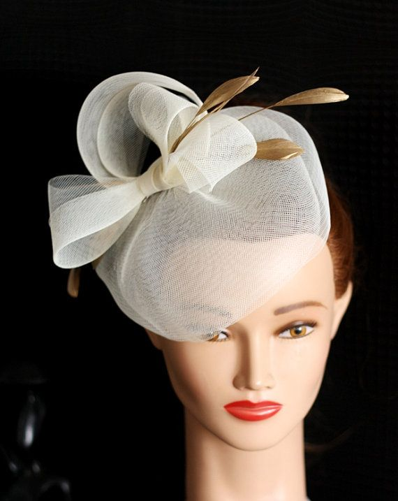 5a3aa1c84921bb Wedding Hat, Couture Bridal Hat. Ivory Bridal Hat, Wedding Birdcage ...
