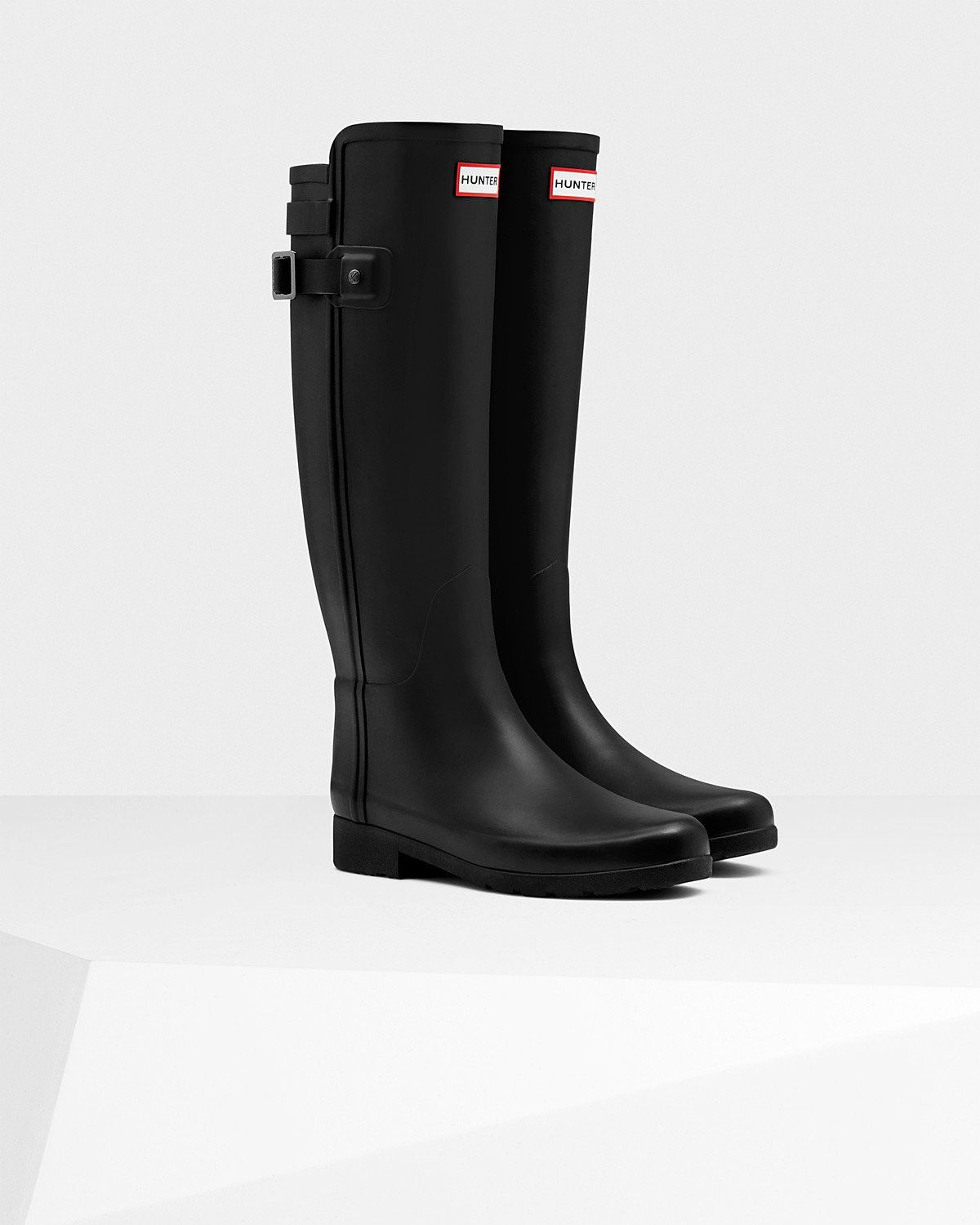 Hunter Women's Original Refined Back Strap Rain Boots - Black ...