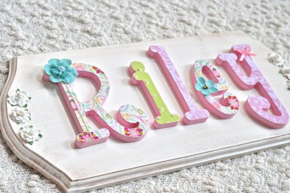 Custom Baby Name Sign Wooden Nursery Letters Childrens Room Decor Painted Wall Hanging