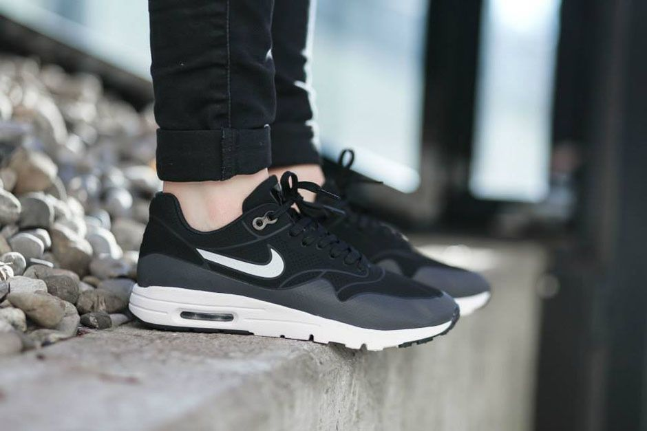 Nike Air Max 1 Ultra Moire Dark Grey Black White On Feet
