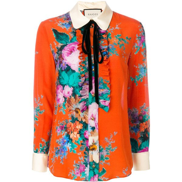 5f7fa33f3f44 Gucci floral print blouse ($1,800) ❤ liked on Polyvore featuring tops,  blouses, red, long sleeve tops, orange blouse, floral long sleeve blouse,  ...