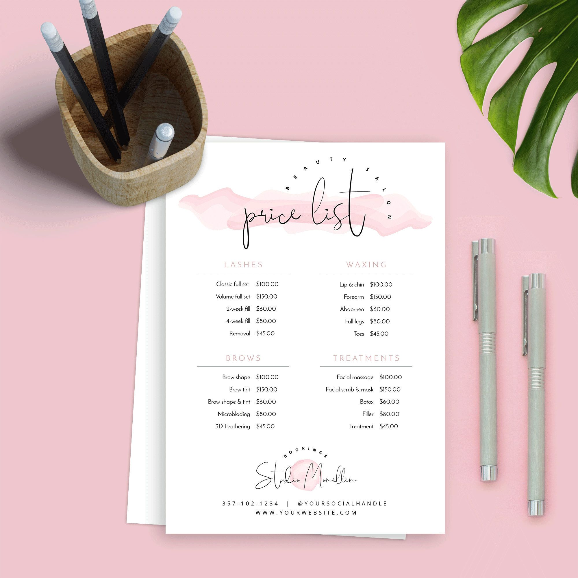 Elegant Price List Template Printable Price Lists Beauty Etsy