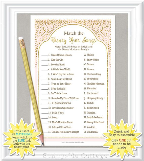Match The DISNEY LOVE SONGS Bridal Shower Game With Blush And Gold Accents Diy Printable Bachelorette Party Engagement 29BR