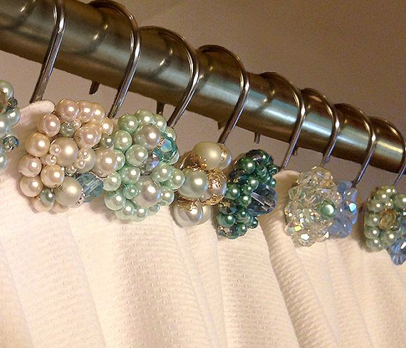 Shower Curtain Hooks Vintage Blue Large Cluster By OhZsuZsi